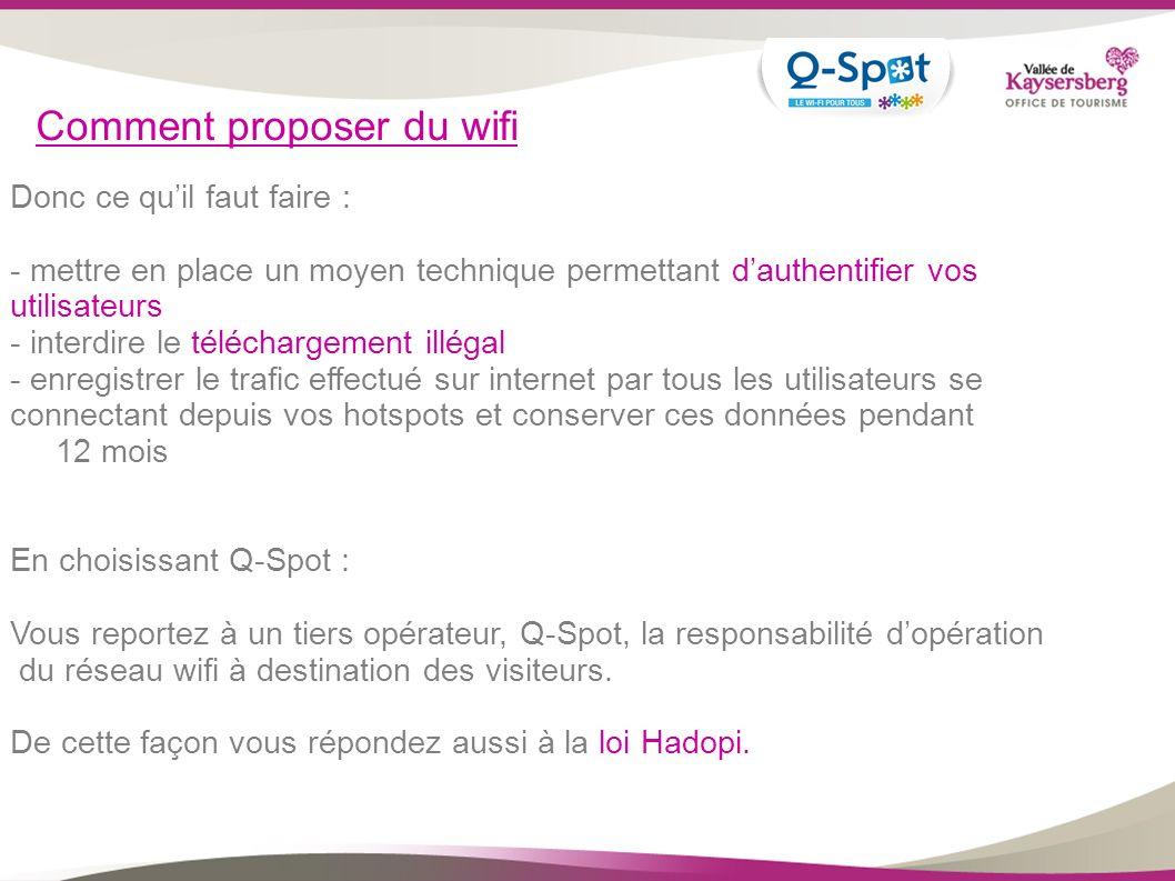 Comment proposer du wifi Donc ce quil faut faire : - mettre en place un moyen technique permettant dauthentifier vos utilisateurs - interdire le téléc