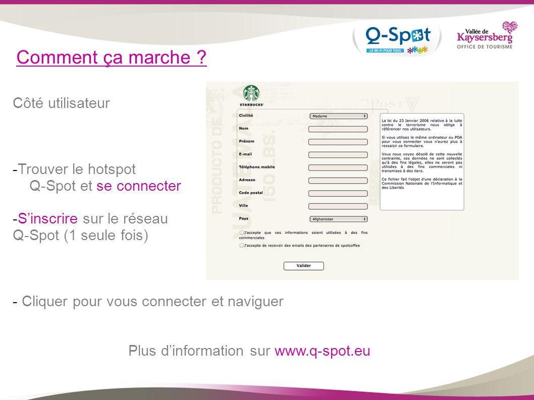 Comment ça marche ? Côté utilisateur -Trouver le hotspot Q-Spot et se connecter -Sinscrire sur le réseau Q-Spot (1 seule fois) - Cliquer pour vous con