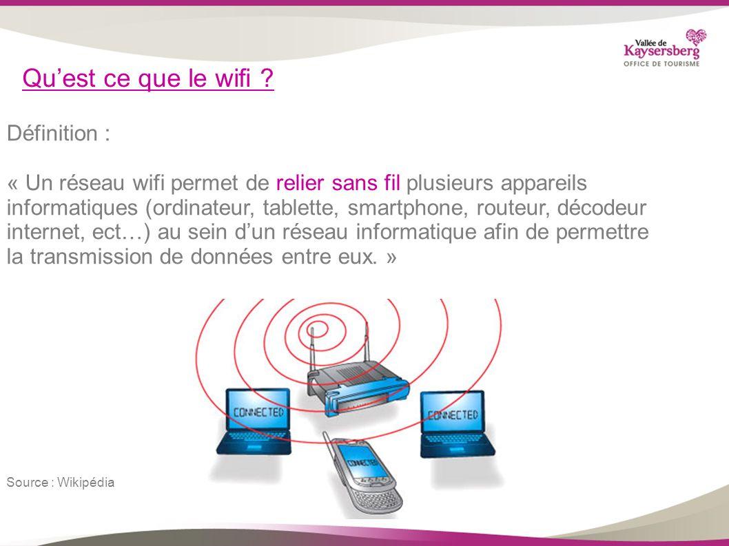 Quest ce que le wifi ? Définition : « Un réseau wifi permet de relier sans fil plusieurs appareils informatiques (ordinateur, tablette, smartphone, ro
