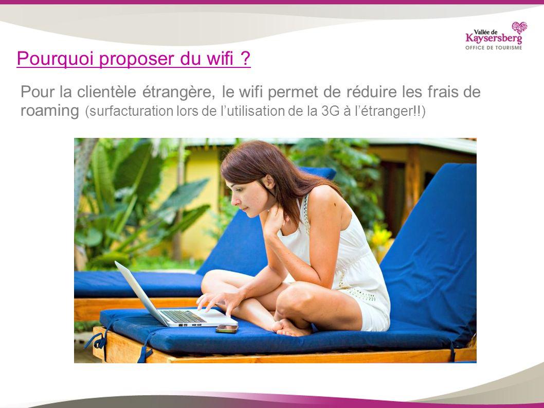 Pourquoi proposer du wifi ? Pour la clientèle étrangère, le wifi permet de réduire les frais de roaming (surfacturation lors de lutilisation de la 3G