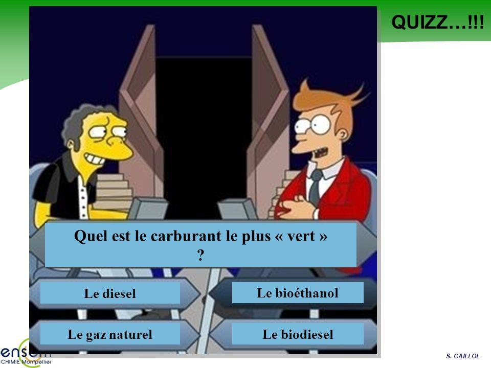 S. CAILLOL QUIZZ…!!! Quel est le carburant le plus « vert » ? Le diesel Le gaz naturel Le bioéthanol Le biodiesel