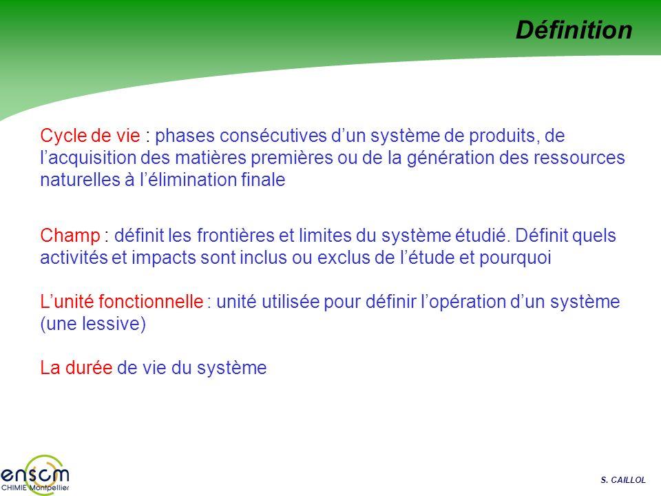 S. CAILLOL Cycle de vie : phases consécutives dun système de produits, de lacquisition des matières premières ou de la génération des ressources natur