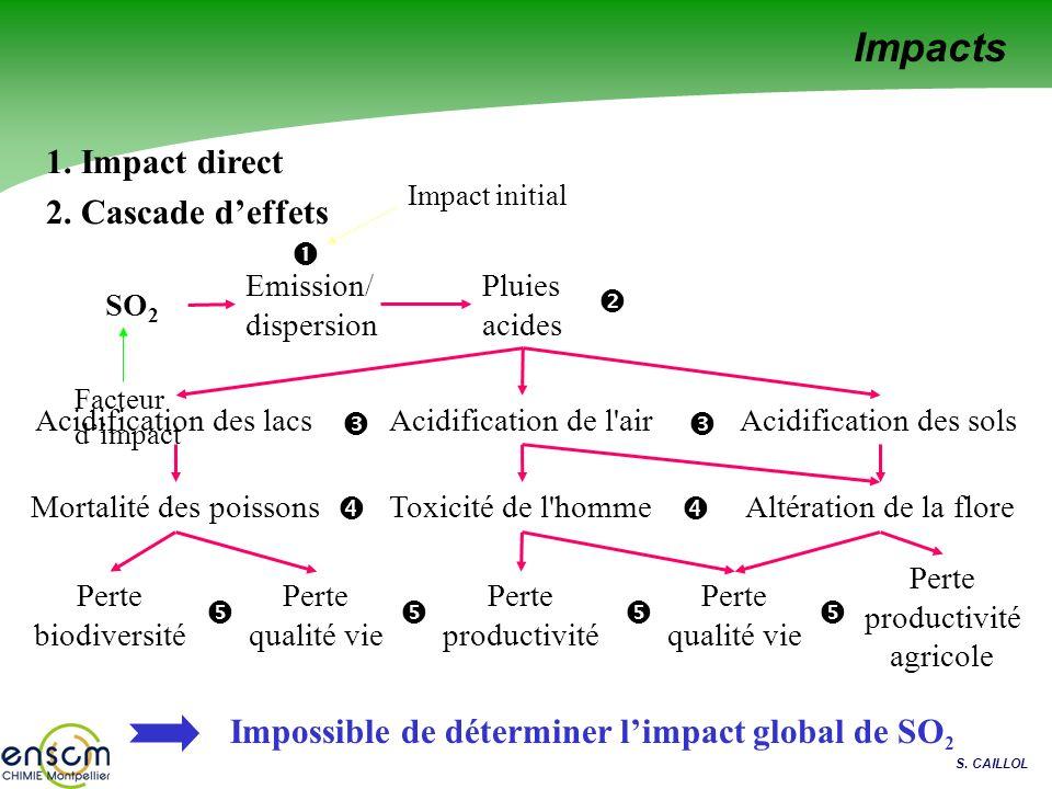 S. CAILLOL 1. Impact direct 2. Cascade deffets Pluies acides Mortalité des poissonsAltération de la floreToxicité de l'homme Perte biodiversité Perte