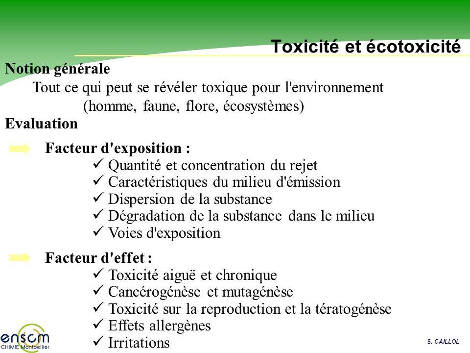 S. CAILLOL Toxicité et écotoxicité Tout ce qui peut se révéler toxique pour l'environnement (homme, faune, flore, écosystèmes) Facteur d'exposition :