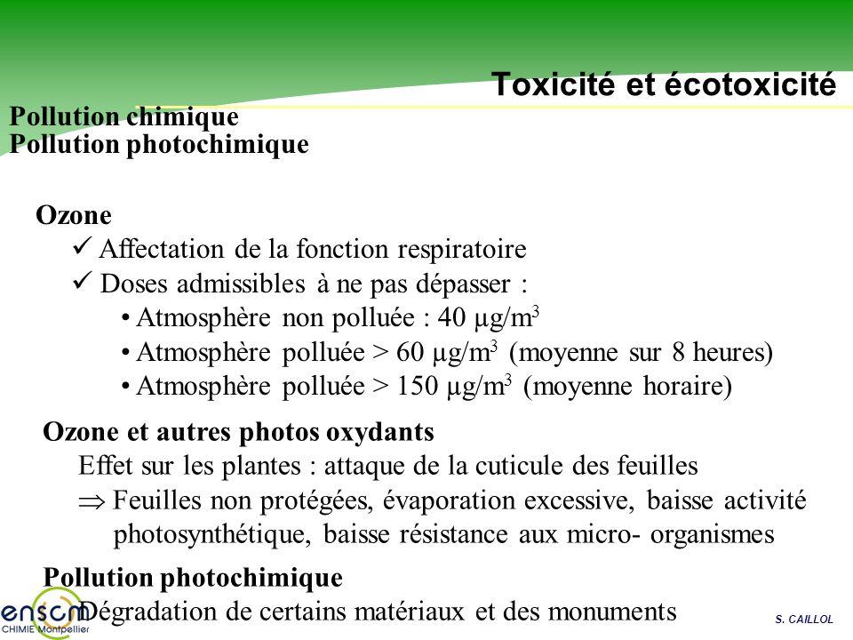 S. CAILLOL Toxicité et écotoxicité Pollution photochimique Ozone Affectation de la fonction respiratoire Doses admissibles à ne pas dépasser : Atmosph