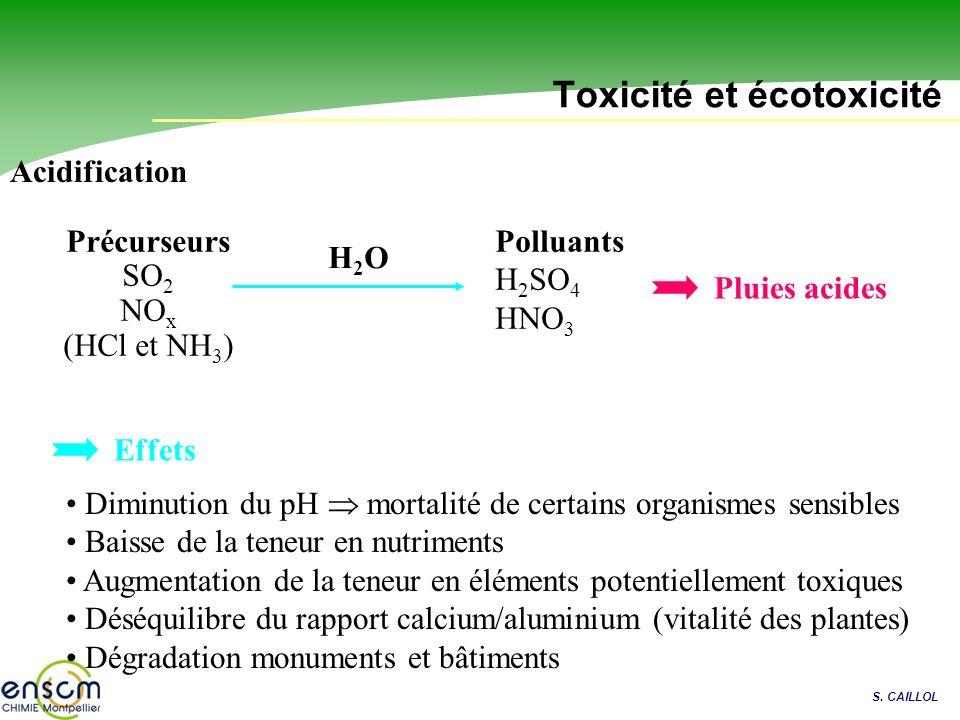 S. CAILLOL Toxicité et écotoxicité Acidification Diminution du pH mortalité de certains organismes sensibles Baisse de la teneur en nutriments Augment