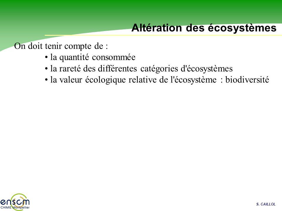S. CAILLOL Altération des écosystèmes On doit tenir compte de : la quantité consommée la rareté des différentes catégories d'écosystèmes la valeur éco