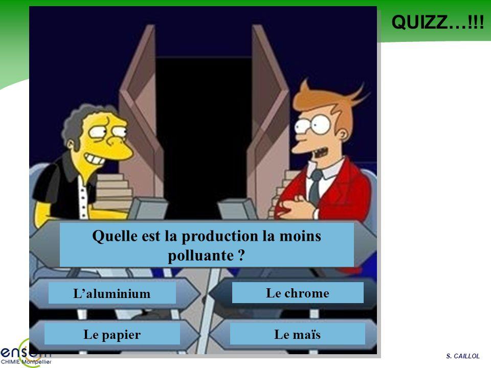 S. CAILLOL QUIZZ…!!! Quelle est la production la moins polluante ? Laluminium Le papier Le chrome Le maïs