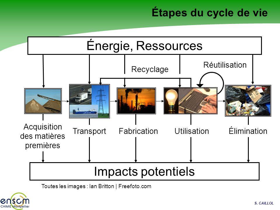 Étapes du cycle de vie Acquisition des matières premières Toutes les images : Ian Britton | Freefoto.com Réutilisation Recyclage TransportUtilisationF