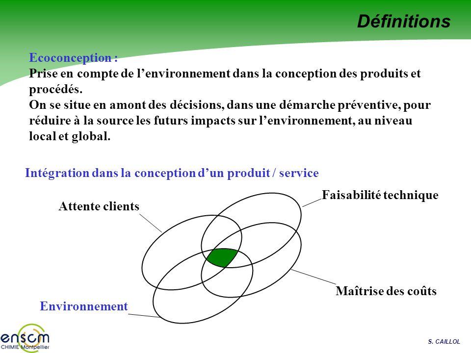 S. CAILLOL Définitions Ecoconception : Prise en compte de lenvironnement dans la conception des produits et procédés. On se situe en amont des décisio
