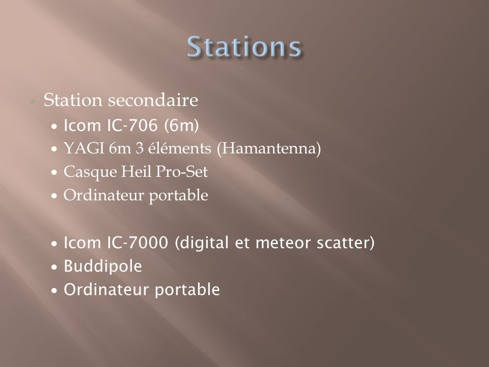 Station secondaire Icom IC-706 (6m) YAGI 6m 3 éléments (Hamantenna) Casque Heil Pro-Set Ordinateur portable Icom IC-7000 (digital et meteor scatter) Buddipole Ordinateur portable