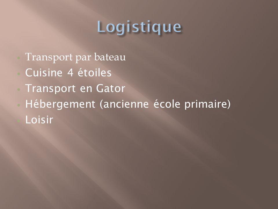 Transport par bateau Cuisine 4 étoiles Transport en Gator Hébergement (ancienne école primaire) Loisir