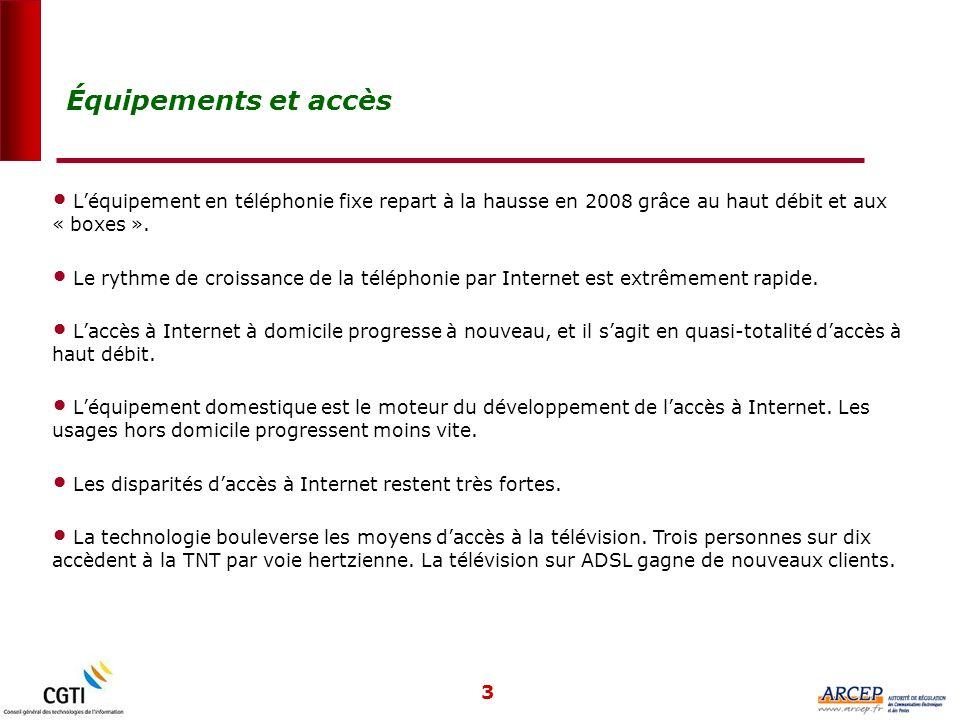 3 Léquipement en téléphonie fixe repart à la hausse en 2008 grâce au haut débit et aux « boxes ».