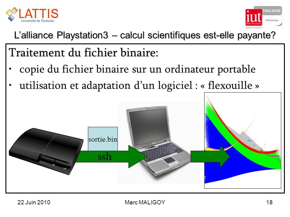 Marc MALIGOY18 Traitement du fichier binaire: copie du fichier binaire sur un ordinateur portable utilisation et adaptation dun logiciel : « flexouill