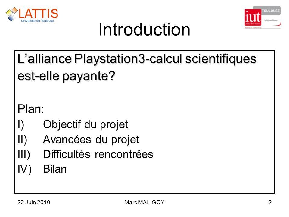 Marc MALIGOY2 Introduction Lalliance Playstation3-calcul scientifiques est-elle payante? Plan: I)Objectif du projet II)Avancées du projet III)Difficul