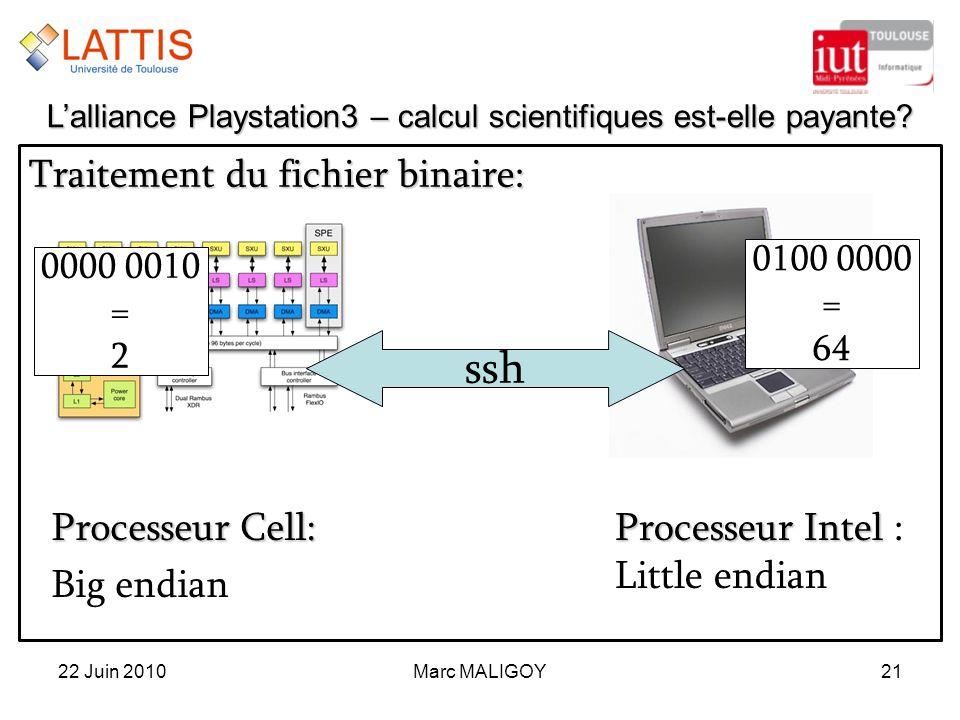 Marc MALIGOY21 Traitement du fichier binaire: 22 Juin 2010 Lalliance Playstation3 – calcul scientifiques est-elle payante? ssh 0000 0010 = 2 0100 0000
