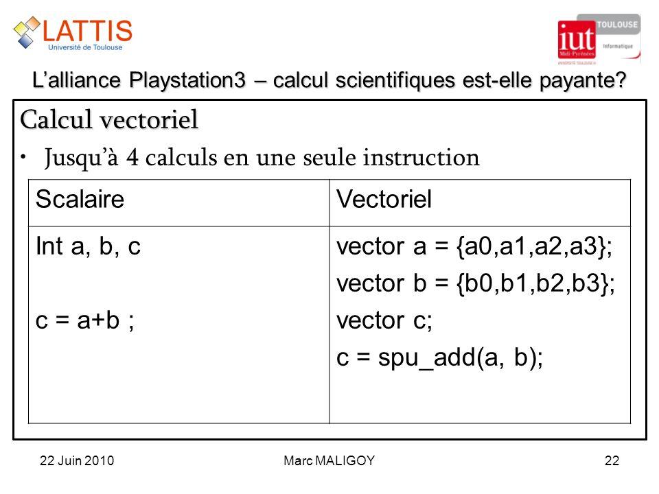 Marc MALIGOY22 Calcul vectoriel Jusquà 4 calculs en une seule instruction 22 Juin 2010 Lalliance Playstation3 – calcul scientifiques est-elle payante?