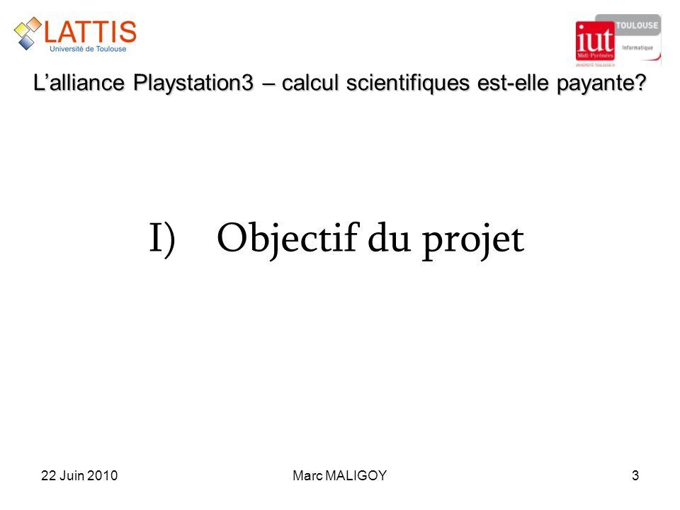 Marc MALIGOY322 Juin 2010 Lalliance Playstation3 – calcul scientifiques est-elle payante? I)Objectif du projet