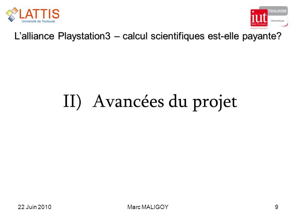 Marc MALIGOY922 Juin 2010 Lalliance Playstation3 – calcul scientifiques est-elle payante? II)Avancées du projet