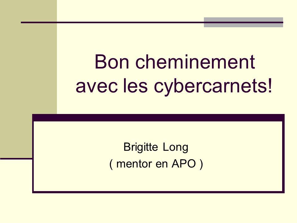 Bon cheminement avec les cybercarnets! Brigitte Long ( mentor en APO )