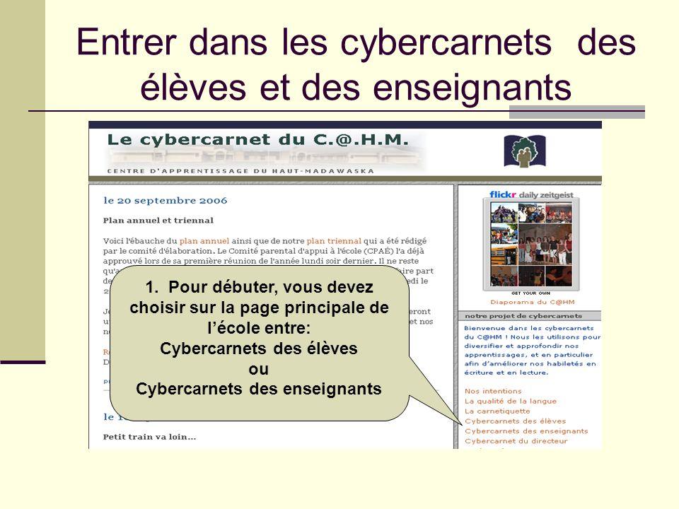 Entrer dans les cybercarnets des élèves et des enseignants 1. Pour débuter, vous devez choisir sur la page principale de lécole entre: Cybercarnets de