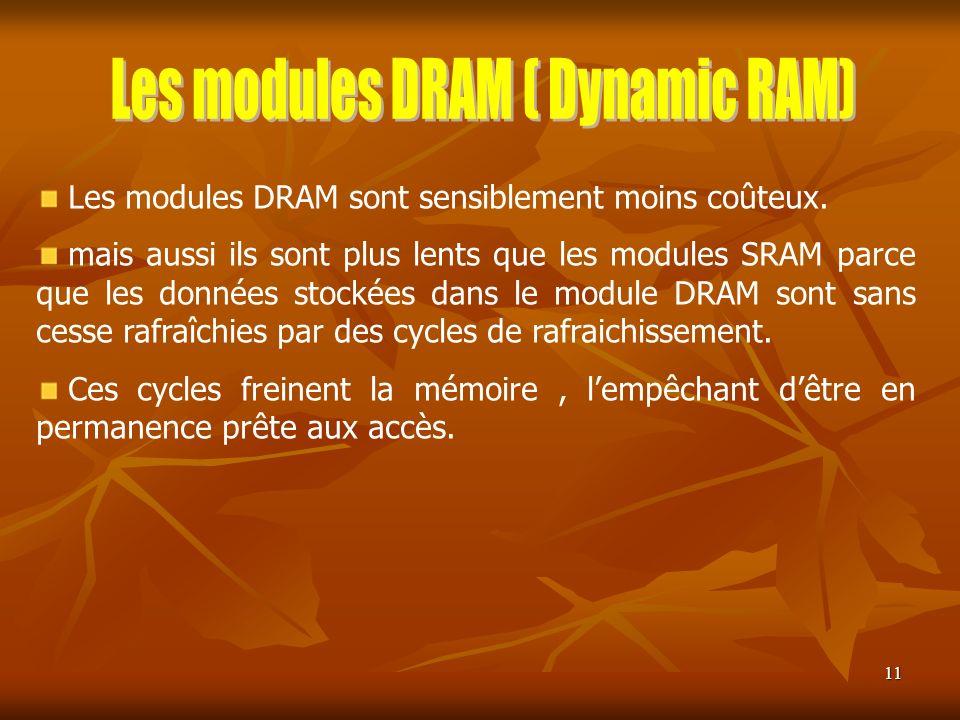 11 Les modules DRAM sont sensiblement moins coûteux. mais aussi ils sont plus lents que les modules SRAM parce que les données stockées dans le module