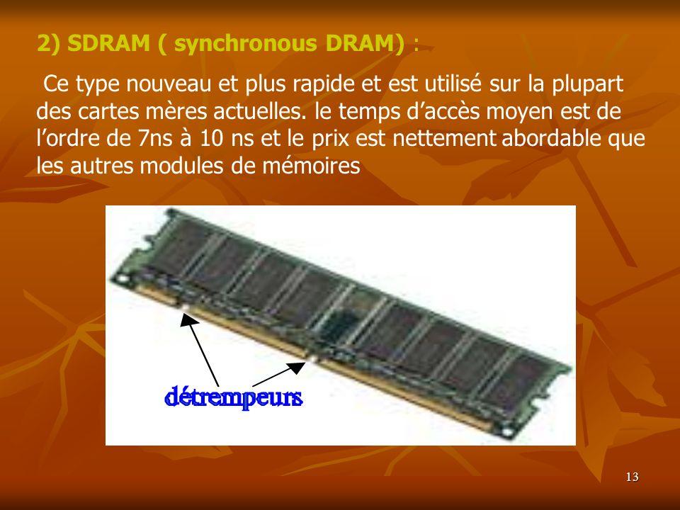 13 2) SDRAM ( synchronous DRAM) : Ce type nouveau et plus rapide et est utilisé sur la plupart des cartes mères actuelles. le temps daccès moyen est d