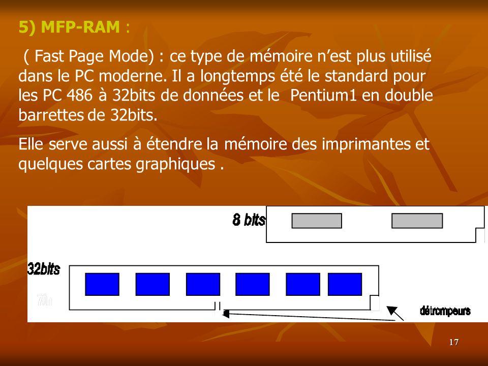 17 5) MFP-RAM : ( Fast Page Mode) : ce type de mémoire nest plus utilisé dans le PC moderne. Il a longtemps été le standard pour les PC 486 à 32bits d