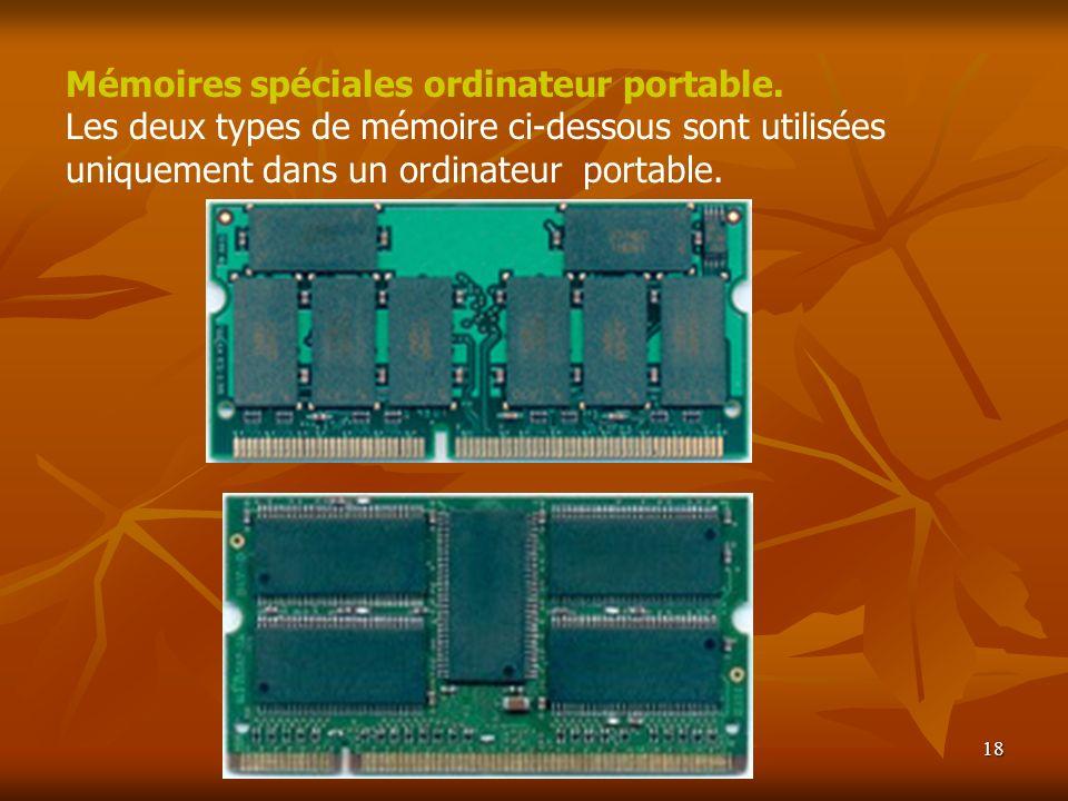 18 Mémoires spéciales ordinateur portable. Les deux types de mémoire ci-dessous sont utilisées uniquement dans un ordinateur portable.
