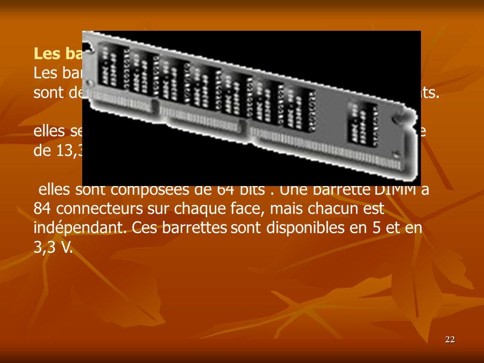 22 Les barrettes DIMM Les barrettes DIMM (Dual InLine Memory Module) sont désormais supportées par la plupart des PC récents. elles se présentent sous