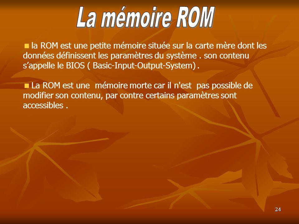 24 la ROM est une petite mémoire située sur la carte mère dont les données définissent les paramètres du système. son contenu sappelle le BIOS ( Basic