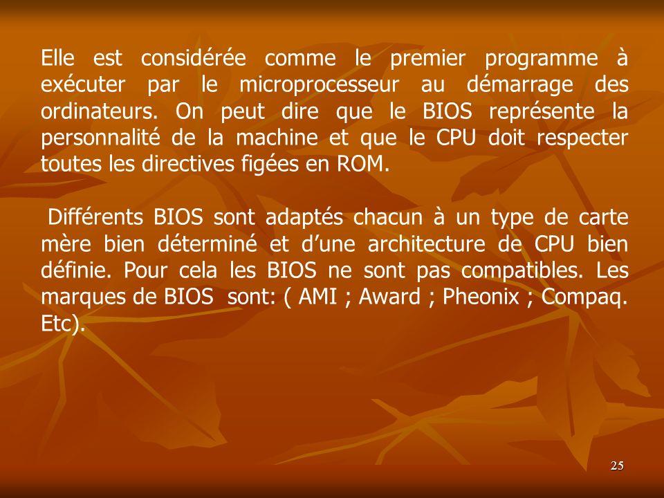 25 Elle est considérée comme le premier programme à exécuter par le microprocesseur au démarrage des ordinateurs. On peut dire que le BIOS représente