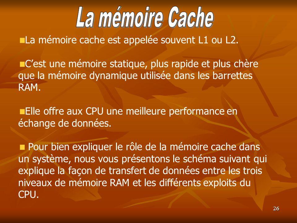 26 La mémoire cache est appelée souvent L1 ou L2. Cest une mémoire statique, plus rapide et plus chère que la mémoire dynamique utilisée dans les barr