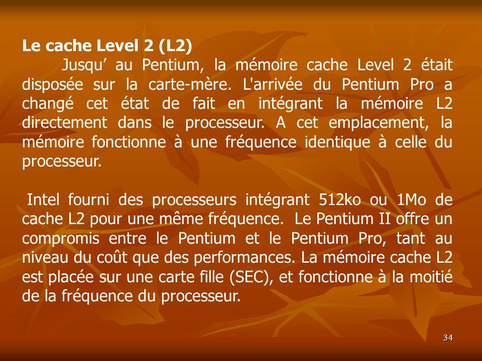 34 Le cache Level 2 (L2) Jusqu au Pentium, la mémoire cache Level 2 était disposée sur la carte-mère. L'arrivée du Pentium Pro a changé cet état de fa
