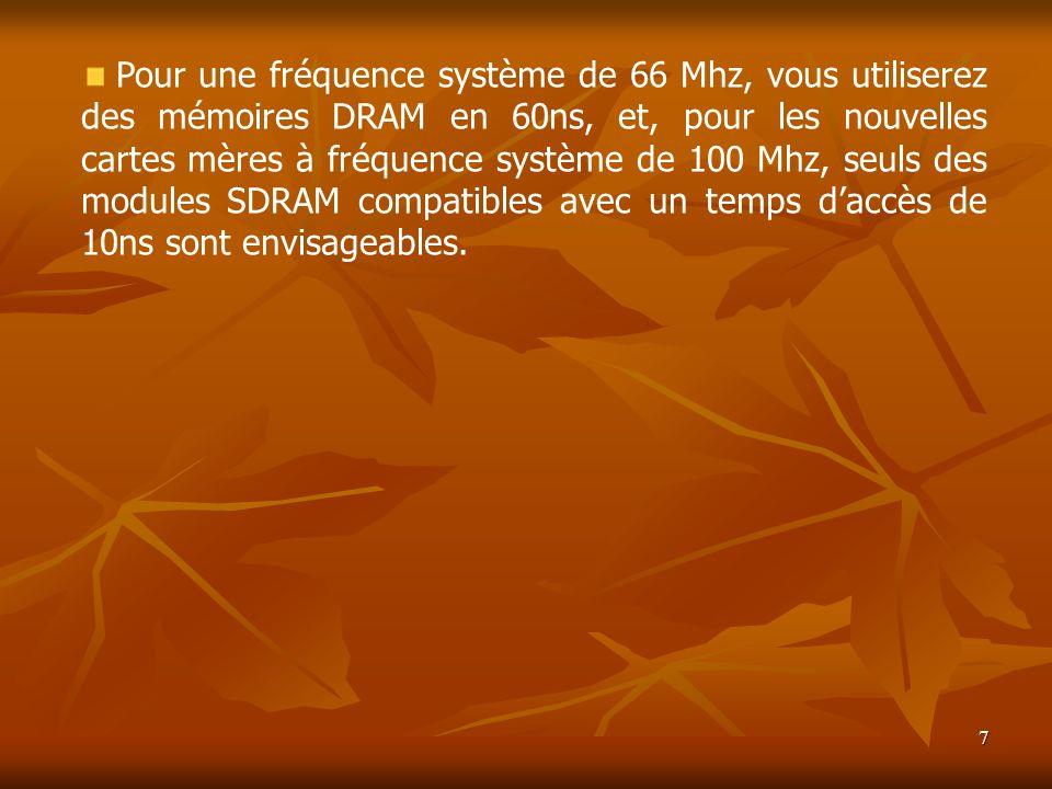 7 Pour une fréquence système de 66 Mhz, vous utiliserez des mémoires DRAM en 60ns, et, pour les nouvelles cartes mères à fréquence système de 100 Mhz,