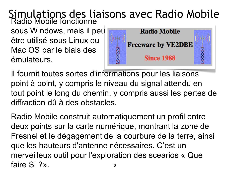 Radio Mobile fonctionne sous Windows, mais il peut être utilisé sous Linux ou Mac OS par le biais des émulateurs.