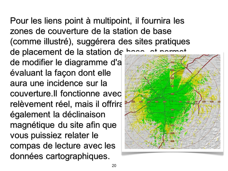 Pour les liens point à multipoint, il fournira les zones de couverture de la station de base (comme illustré), suggérera des sites pratiques de placement de la station de base, et permet de modifier le diagramme d antenne tout en évaluant la façon dont elle aura une incidence sur la couverture.Il fonctionne avec un relèvement réel, mais il offrira également la déclinaison magnétique du site afin que vous puissiez relater le compas de lecture avec les données cartographiques.