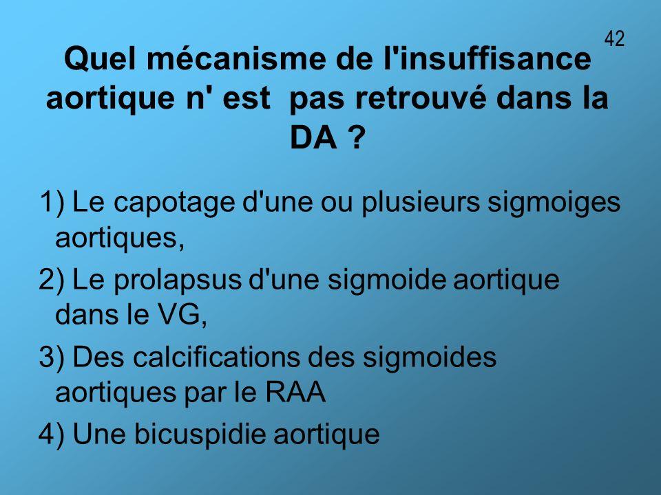 Quel mécanisme de l'insuffisance aortique n' est pas retrouvé dans la DA ? 1) Le capotage d'une ou plusieurs sigmoiges aortiques, 2) Le prolapsus d'un
