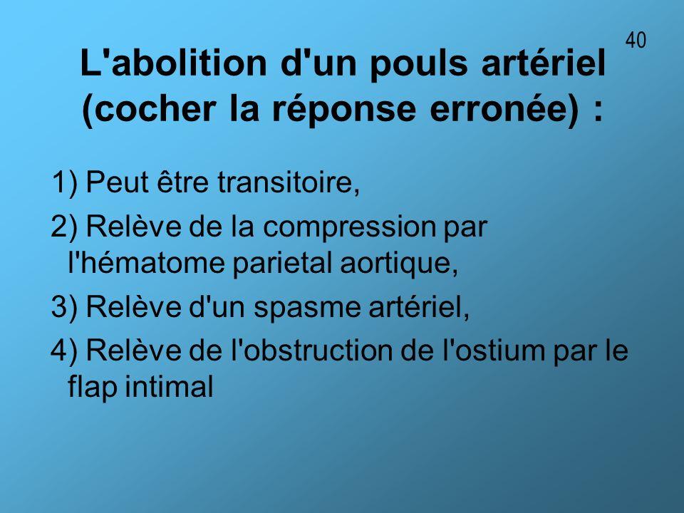 L'abolition d'un pouls artériel (cocher la réponse erronée) : 1) Peut être transitoire, 2) Relève de la compression par l'hématome parietal aortique,