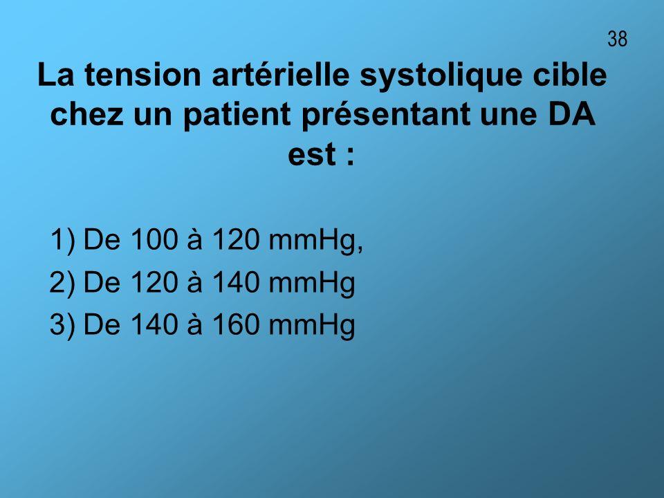 La tension artérielle systolique cible chez un patient présentant une DA est : 1) De 100 à 120 mmHg, 2) De 120 à 140 mmHg 3) De 140 à 160 mmHg 38