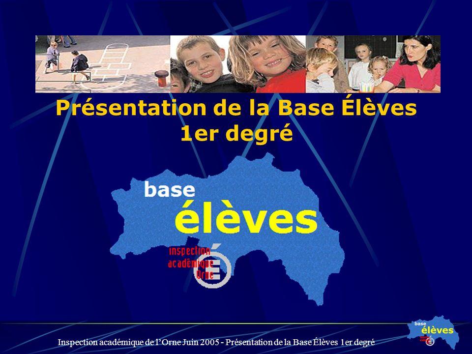 Inspection académique de lOrne Juin 2005 - Présentation de la Base Élèves 1er degré Présentation de la Base Élèves 1er degré