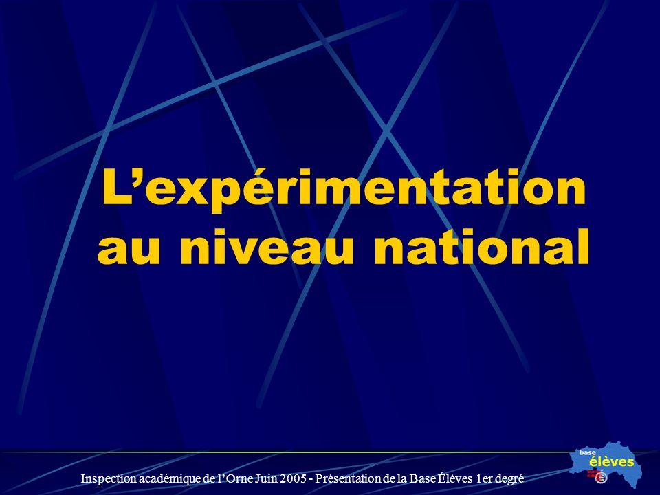 Inspection académique de lOrne Juin 2005 - Présentation de la Base Élèves 1er degré Lexpérimentation au niveau national