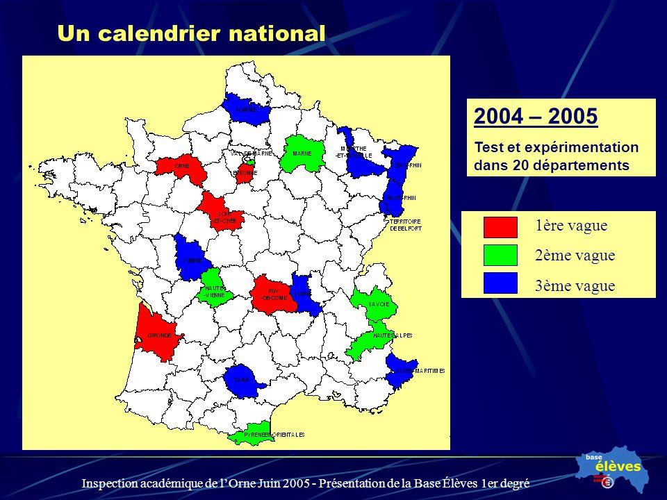 Inspection académique de lOrne Juin 2005 - Présentation de la Base Élèves 1er degré Un calendrier national 2004 – 2005 Test et expérimentation dans 20