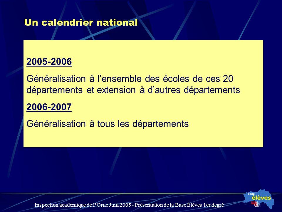 Inspection académique de lOrne Juin 2005 - Présentation de la Base Élèves 1er degré Un calendrier national 2005-2006 Généralisation à lensemble des écoles de ces 20 départements et extension à dautres départements 2006-2007 Généralisation à tous les départements