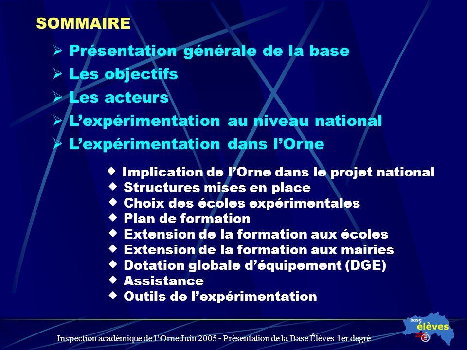 Inspection académique de lOrne Juin 2005 - Présentation de la Base Élèves 1er degré Présentation générale de la base Les objectifs Lexpérimentation da