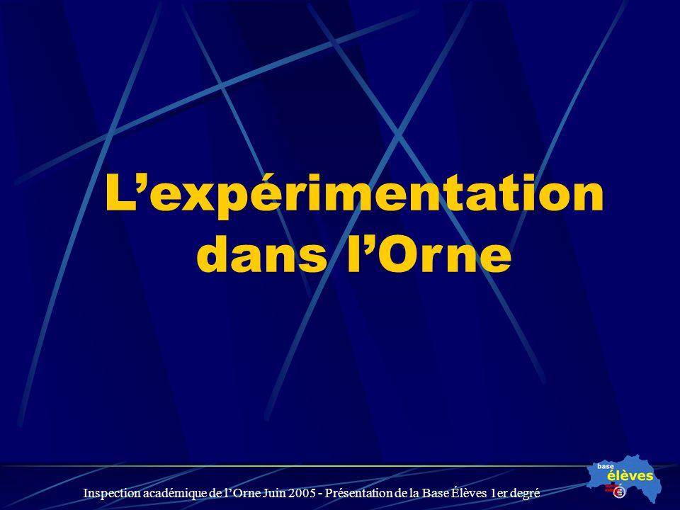 Inspection académique de lOrne Juin 2005 - Présentation de la Base Élèves 1er degré Lexpérimentation dans lOrne