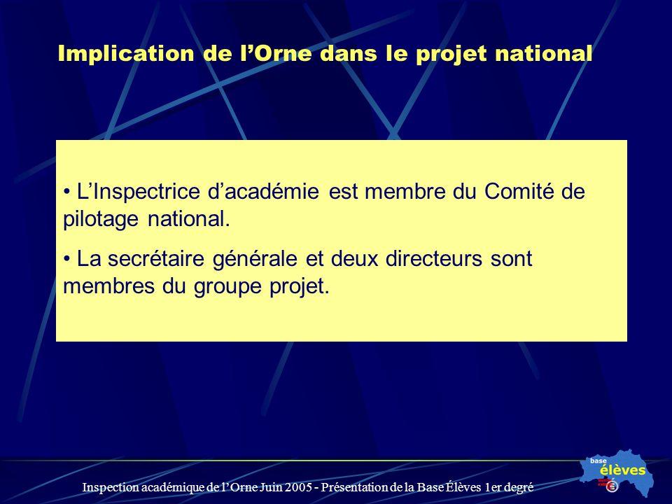 Inspection académique de lOrne Juin 2005 - Présentation de la Base Élèves 1er degré Implication de lOrne dans le projet national LInspectrice dacadémie est membre du Comité de pilotage national.