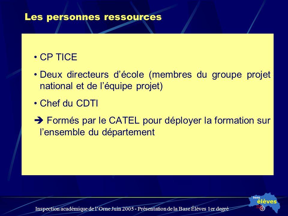 Inspection académique de lOrne Juin 2005 - Présentation de la Base Élèves 1er degré Les personnes ressources CP TICE Deux directeurs décole (membres d