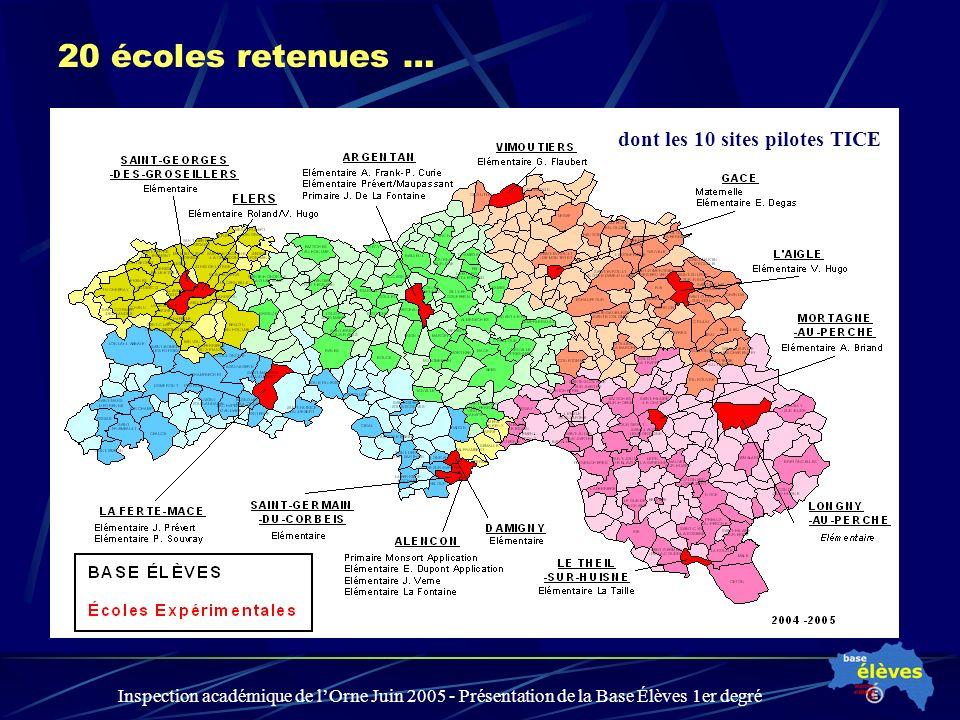 Inspection académique de lOrne Juin 2005 - Présentation de la Base Élèves 1er degré 20 écoles retenues … dont les 10 sites pilotes TICE