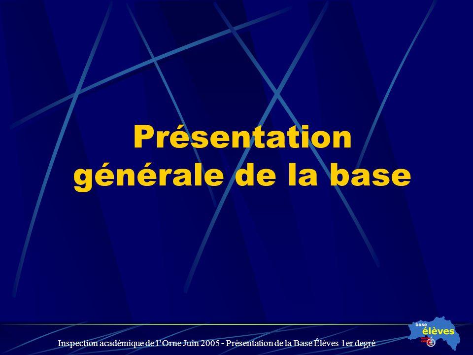 Inspection académique de lOrne Juin 2005 - Présentation de la Base Élèves 1er degré Présentation générale de la base